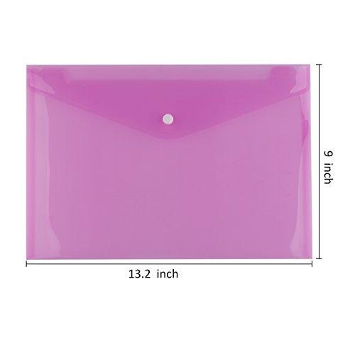ACELISTプレミアム品質クリアドキュメントフォルダwithスナップボタン、ポリ封筒、USレター/ a4サイズ、12セット6アソートカラー