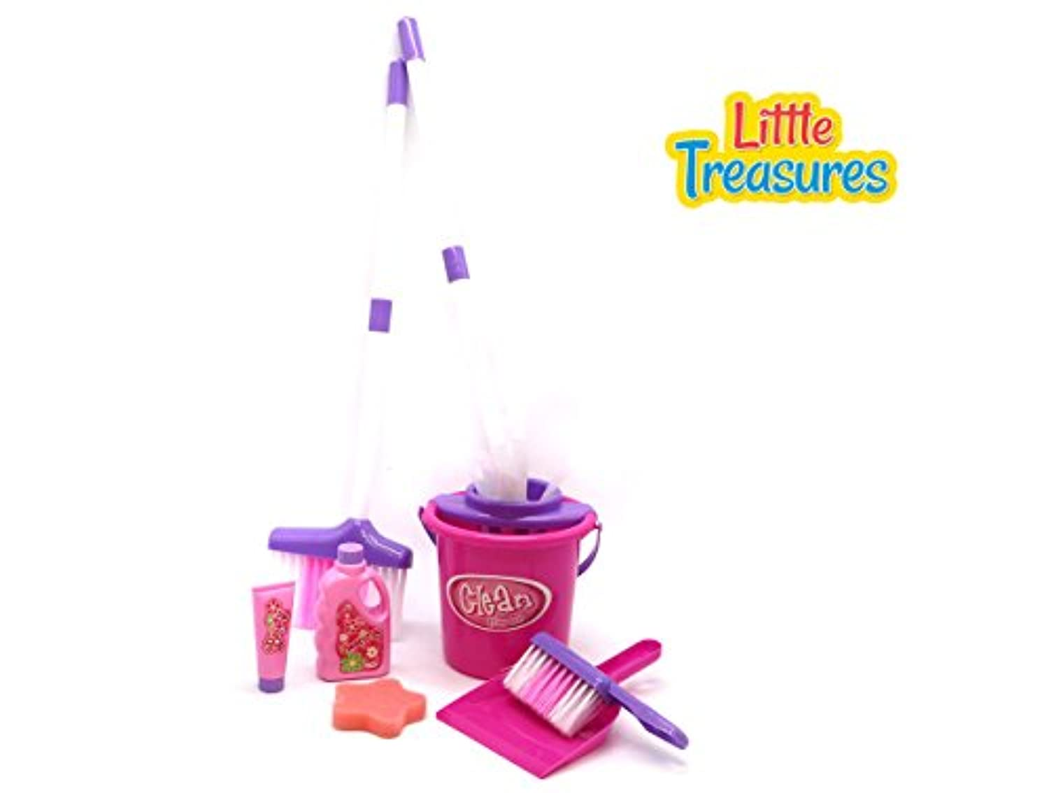 HappyクリーニングPlay Set from Little Treasures – Complete with mop、バケット、ほうき、クリーニングソリューション、フォームパッド、hand-broom、およびDustpan – Playセットfor Children Over 3 and Up