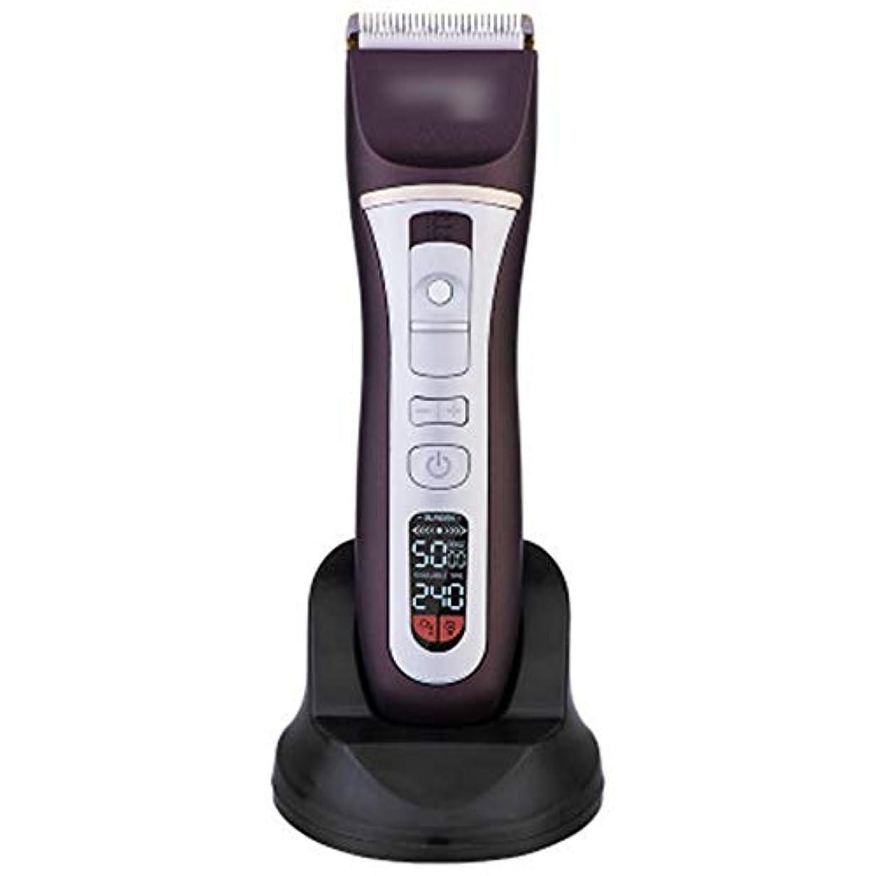 魅力的悪意人WAKABAFK 充電式バリカン液晶ディスプレイヘアカッター電気シェーバー髭トリマーかみそり (色 : 黒)