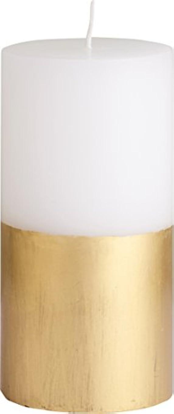 軸に慣れご近所カメヤマキャンドルハウス ツートンピラーキャンドル 直径7.5cm×高さ15cm ゴールド