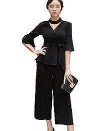 Kayaa パンツドレス セットアップ 袖あり パーティードレス オールインワン レディース パンツスーツ フォーマルドレス 結婚式 二次会 ウエストリボン ワイドパンツ ツーピース 大きいサイズ 20代 30代 40代