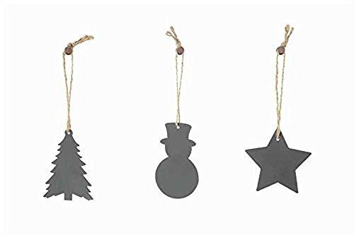 ツリー、雪だるま、メタルスター黒板クリスマスツリーオーナメントセット