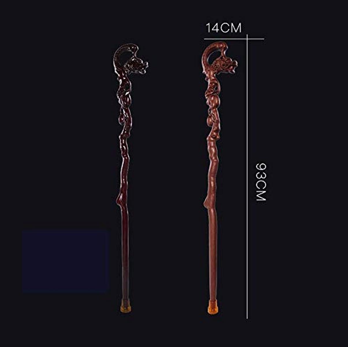 小麦継承ジャンルウォーキングスティック、上品で人間工学的、最高の銭龍の木の色最高の銭龍の真っ赤な杖 (Color : 黒)