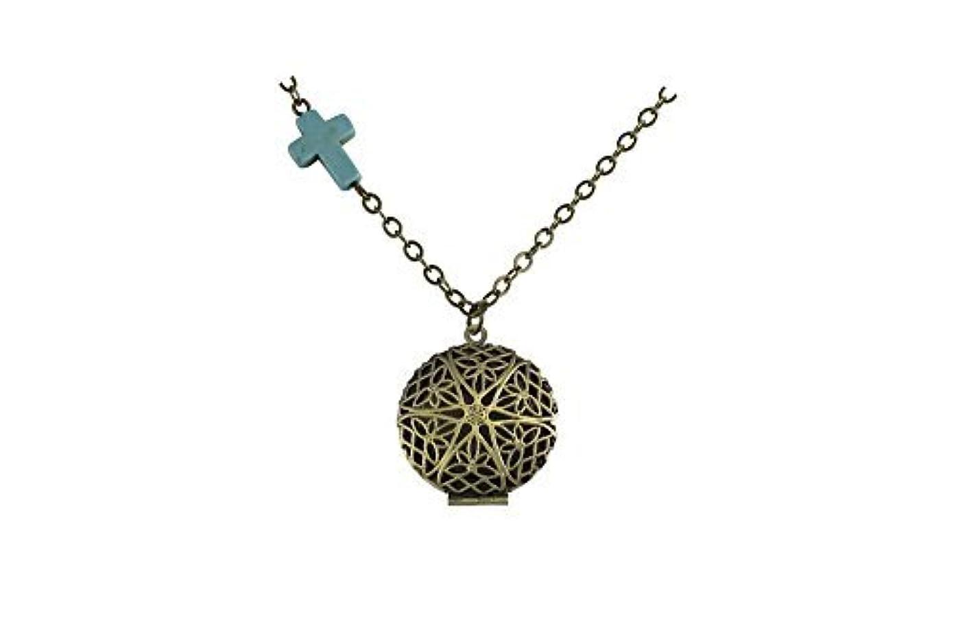 キロメートル噴火ロケットTurquoise-colored Cross Charm Brass-Tone Bronze-Tone Aromatherapy Necklace Essential Oil Diffuser Locket Pendant...
