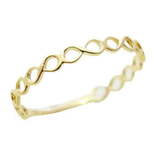K18 指輪 レディース メビウス ダイヤマーキス 重ね付け (イエローゴールド・ホワイトゴールド・ピンクゴール ド)