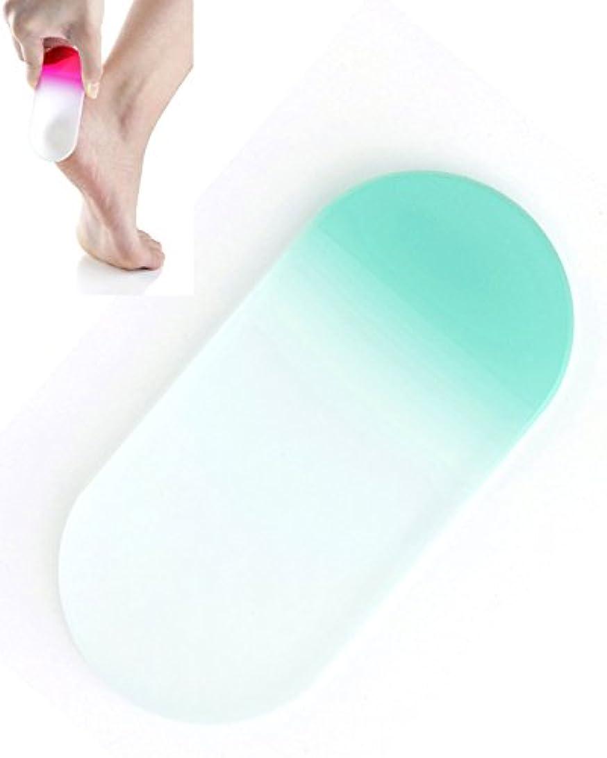賞賛するめまい倒産BISON チェコ製ガラス かかとキレイ アクアブルー 荒目/細目両面 専用ケース付 介護用