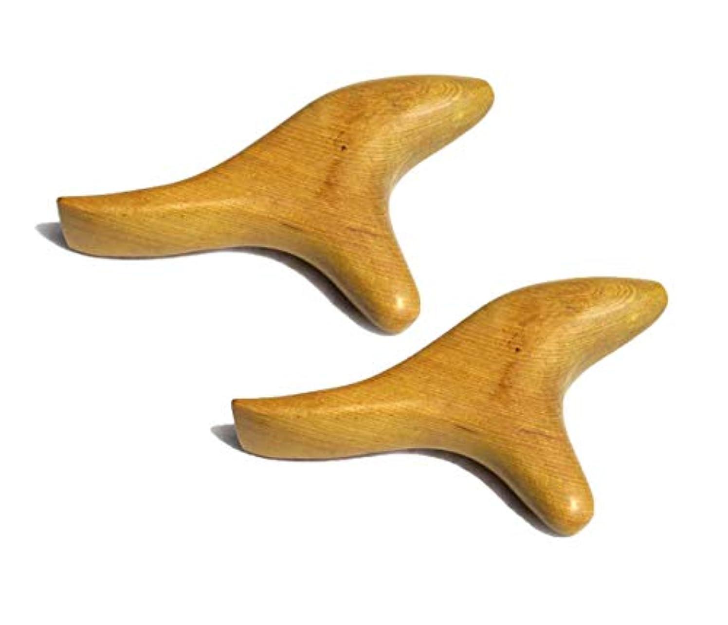 ファシズム力学服を着るViffly ウッドマッサージ棒 握りタイプ 天然木 オカリナ型(ウッドマッサージ棒2個)