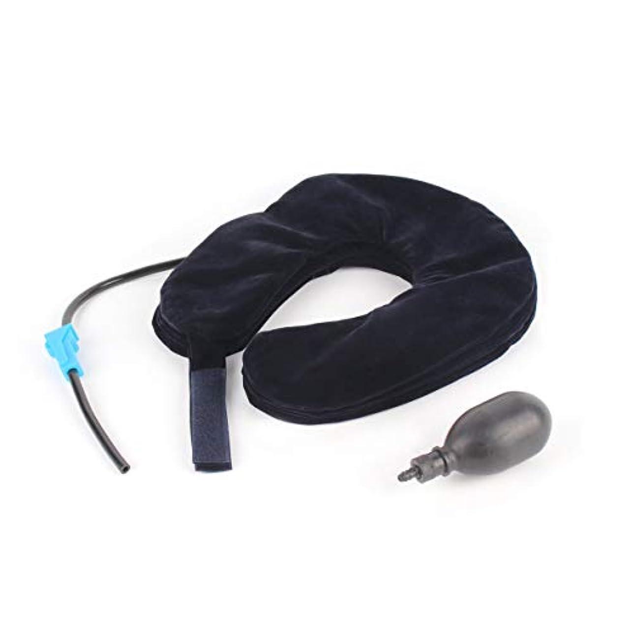 ポジティブ肺傀儡3層首牽引器具インフレータブルベルベットネックガードポータブルアジャスタブルネックサポートヘルスケア - ブルー