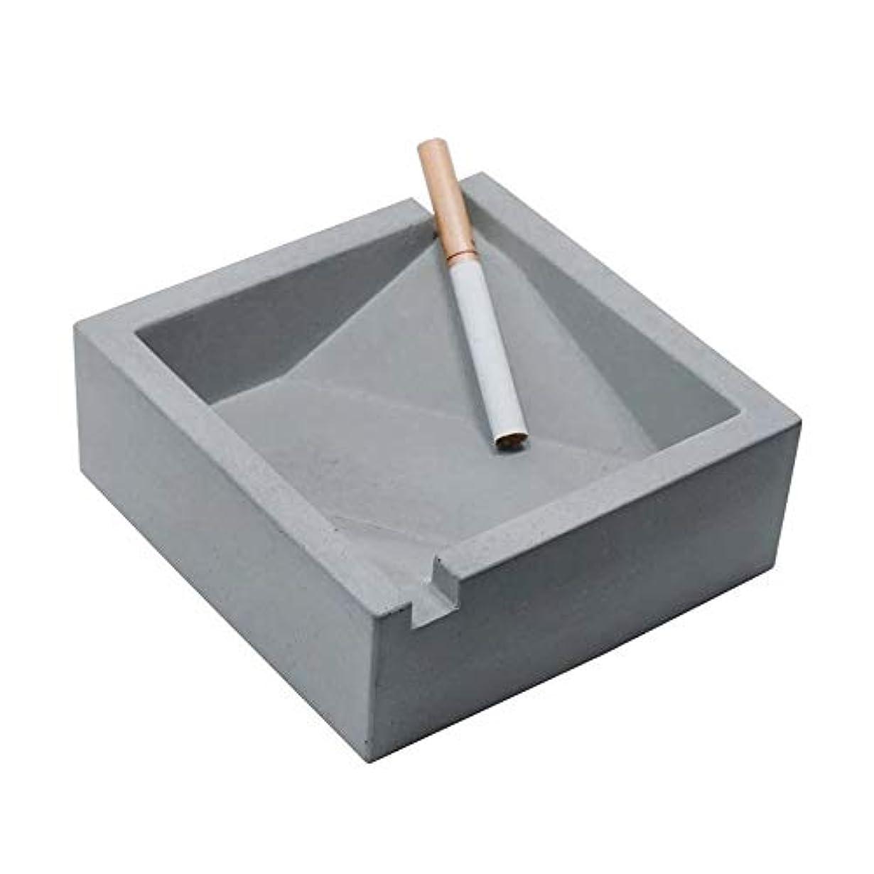 ダブル命題バーターヴィンテージリビングルームオフィスコーヒーテーブル装飾灰皿、セメント灰皿工業用風スクエアコンクリートシガレット灰皿、品質保証