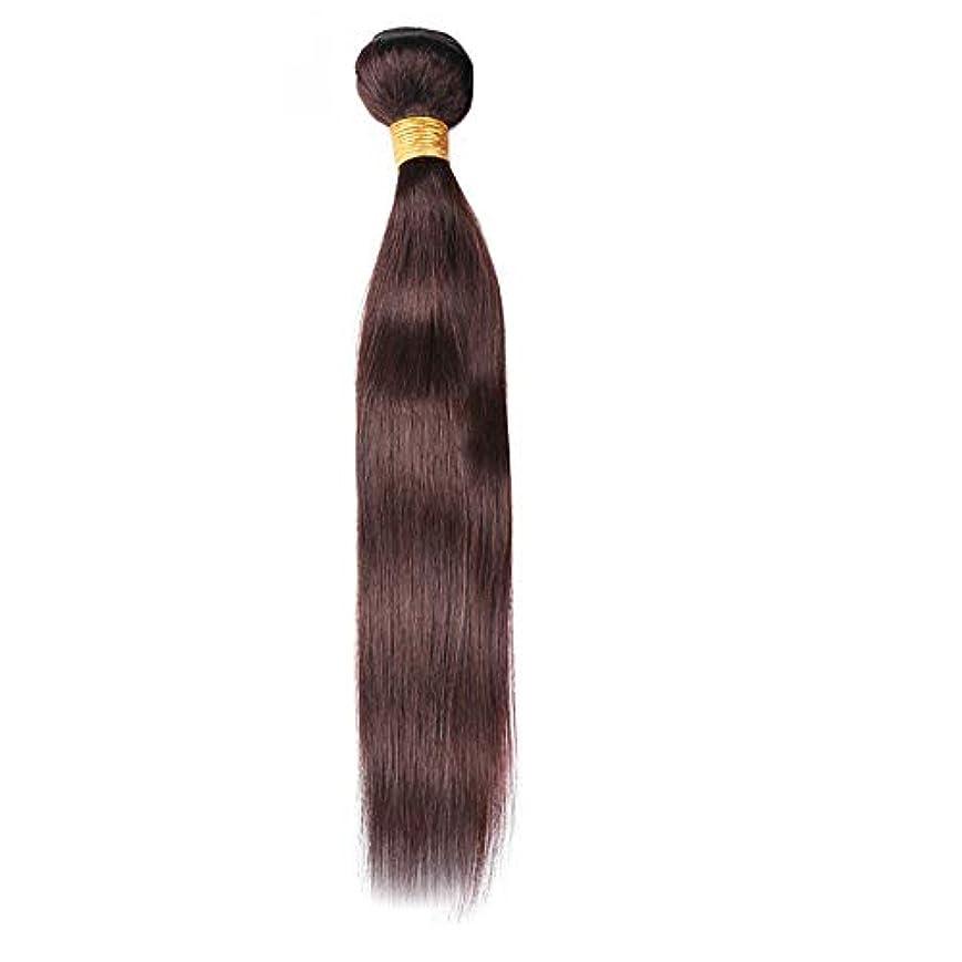 悩み筋肉の支店HOHYLLYA 100%人毛バンドル - 茶色のストレートヘアエクステンション縫う人の毛髪ロールプレイングウィッグレディースナチュラルウィッグ (色 : ブラウン, サイズ : 18 inch)