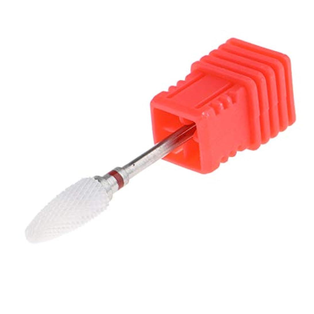 みぞれペンキャンセルセラミック 研磨ヘッド ネイルドリルビット 電気ネイルマシン用 全3色 - 赤(細)