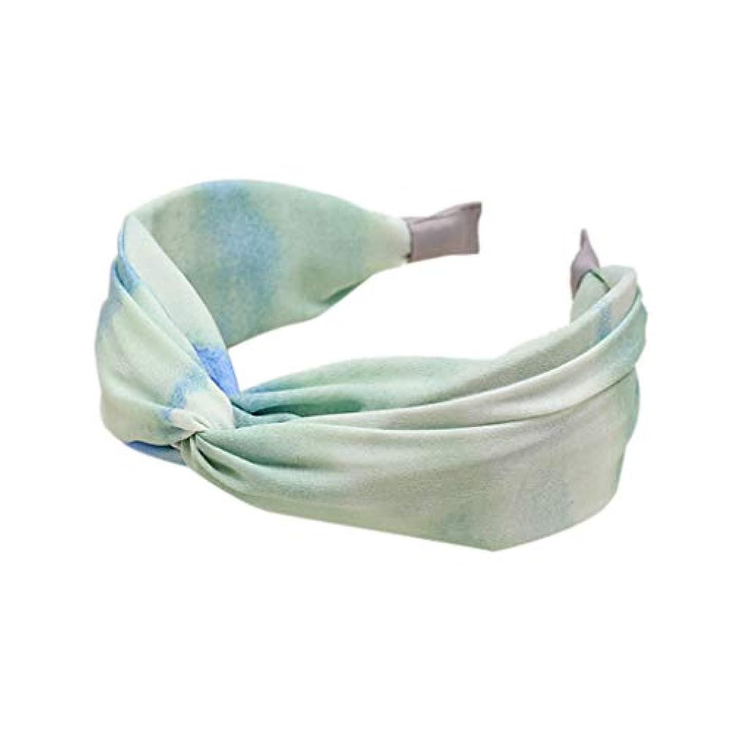 絶滅させる闇たまにManyao 韓国のフレッシュスタイルプリーツワイドヘッドバンド女性甘いネクタイ染料グラデーションカラーヘアフープクロス (緑)