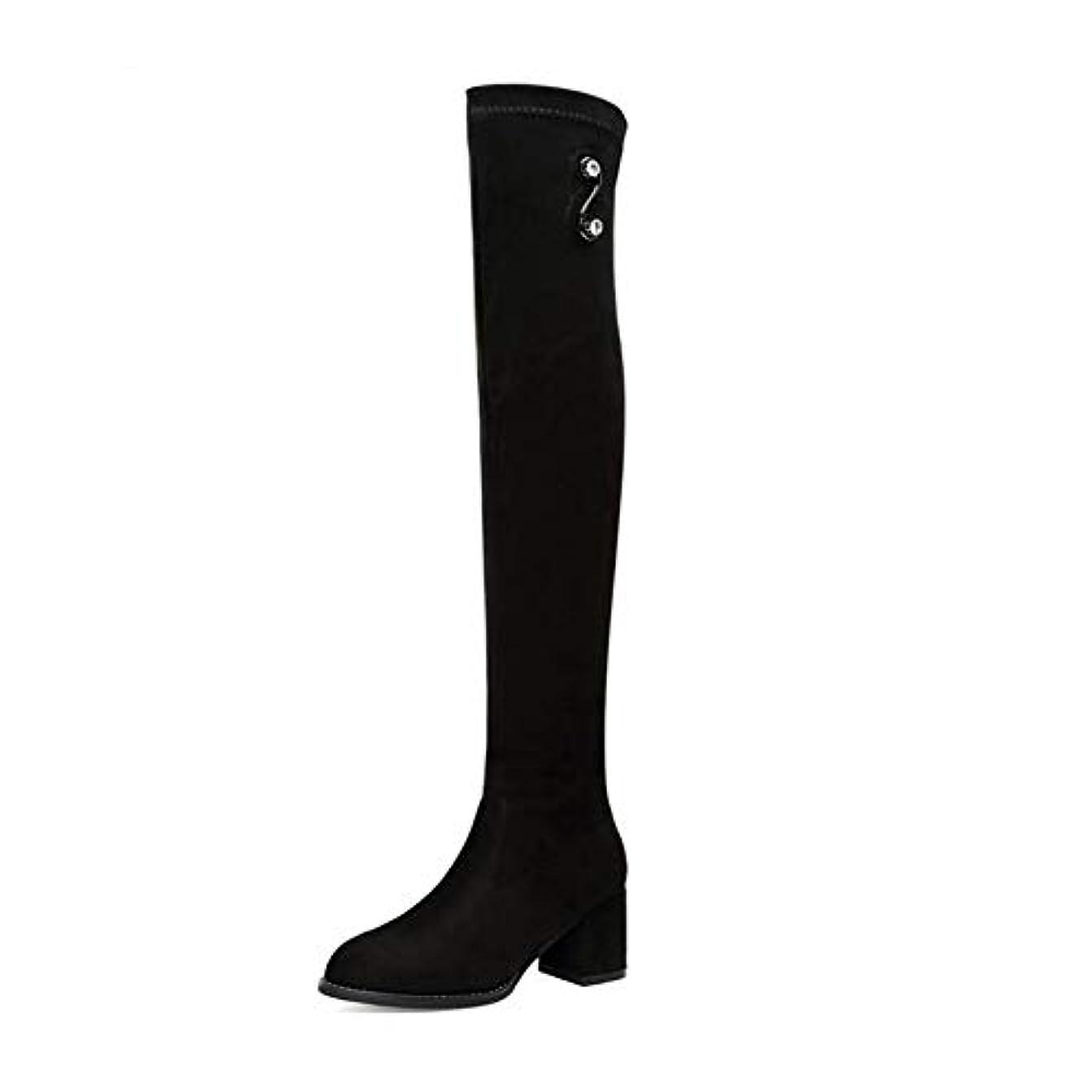 スプレーお願いします被害者女性のファッションブーツ、膝とロングチューブの伸縮性ブーツ、日常着用のノンスリップハイブーツの秋と冬 (色 : ブラック, サイズ : 39)