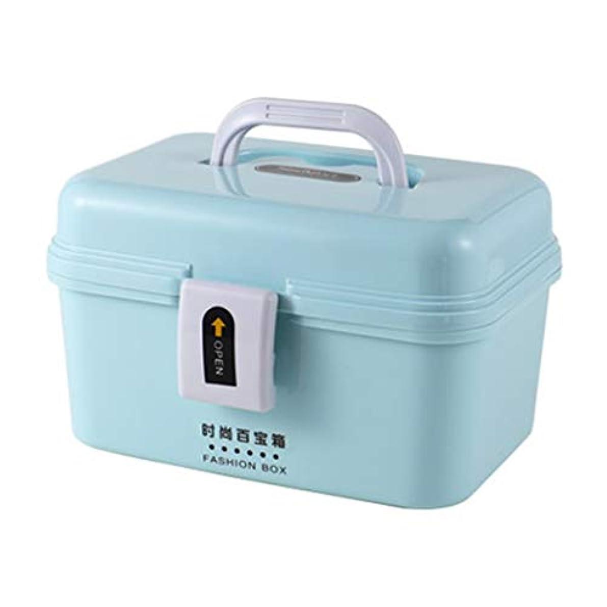 選択するモロニック筋First aid kit 2色で利用できる大きいコンパートメント二重薬の収納箱の携帯用家族の薬のキャビネット XBCDP (Color : Blue)