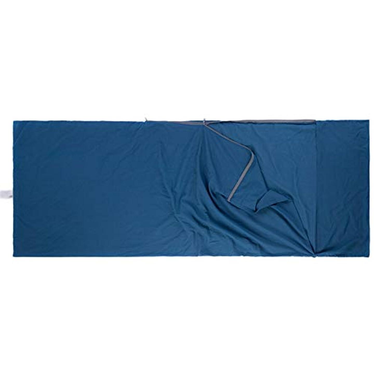 センサー無声で雄大な寝袋アウトドアアウトドアブッシュスリーシーズンキャンプ 屋外シングル寝袋コットンライナーポータブルトラベルダーティーホテルコットン生地ステッチポータブル で利用できる単一の二重色 (色 : 濃紺)