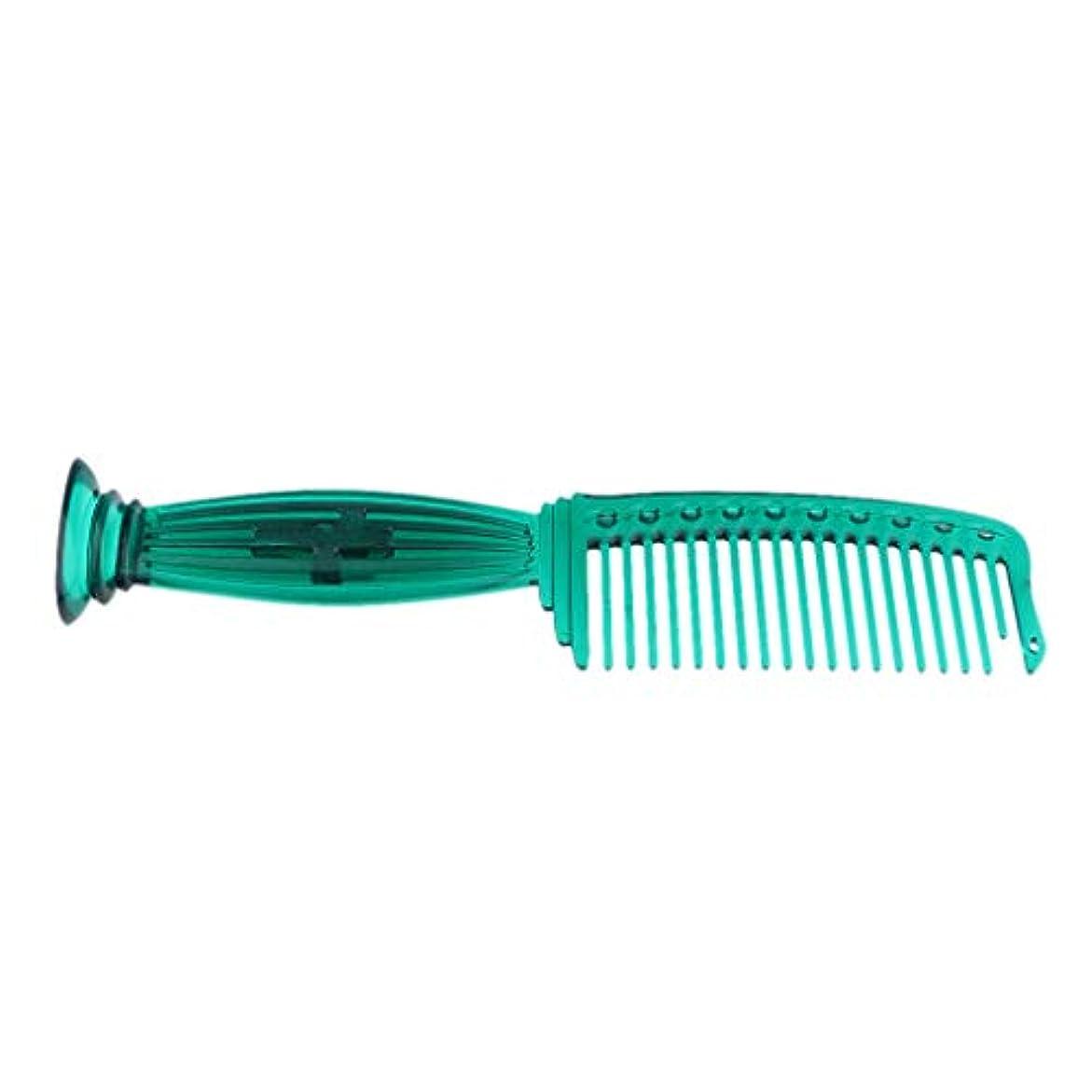 顕著プリーツほこりっぽい全5色 ワイド歯 ヘアコーム ヘアブラシ プラスチック櫛 頭皮保護 櫛 プロ ヘアサロン 理髪師用 - 緑