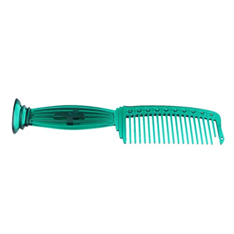化学不当灰全5色 ワイド歯 ヘアコーム ヘアブラシ プラスチック櫛 頭皮保護 櫛 プロ ヘアサロン 理髪師用 - 緑