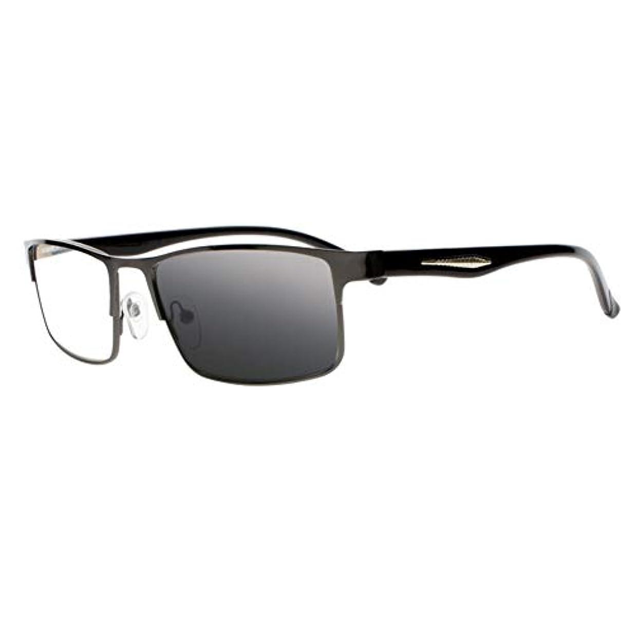 FidgetGear 男性トランジションフォトクロミックオタクオタク老眼鏡サングラス+ 1.0?+ 4.0 UV400 ブラック