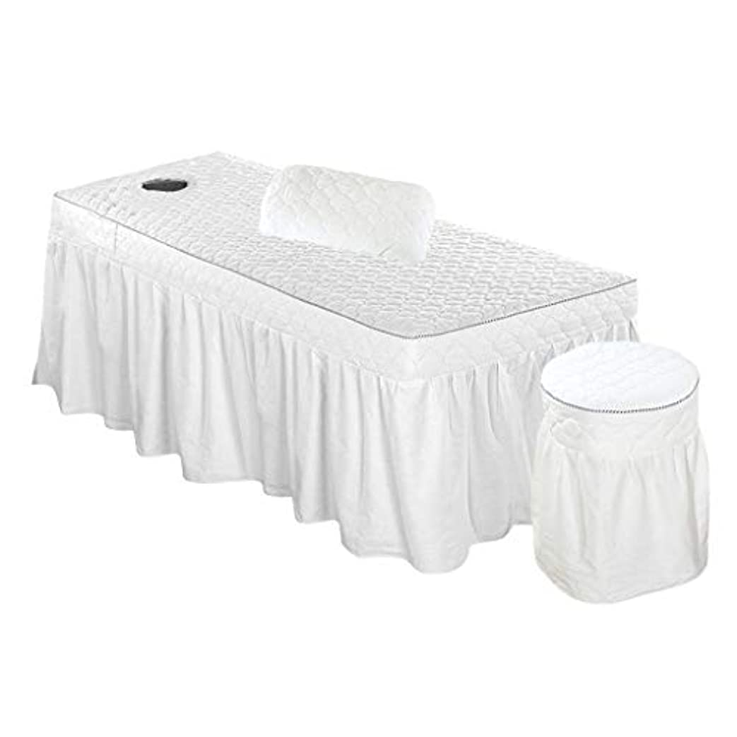 レルム蓋喜ぶスパ マッサージベッドカバー+スツールカバー+枕カバー 有孔 綿製 3枚セット - ホワイト