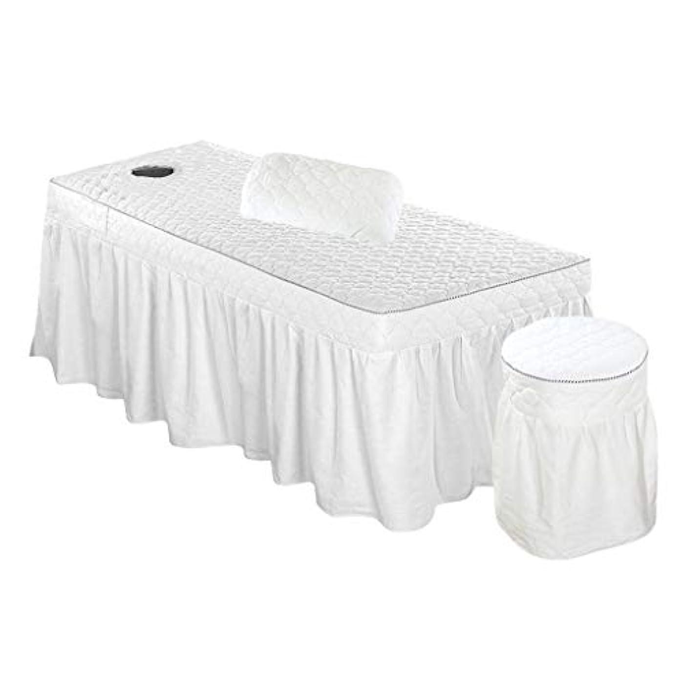ホット簡単に動かすスパ マッサージベッドカバー+スツールカバー+枕カバー 有孔 綿製 3枚セット - ホワイト