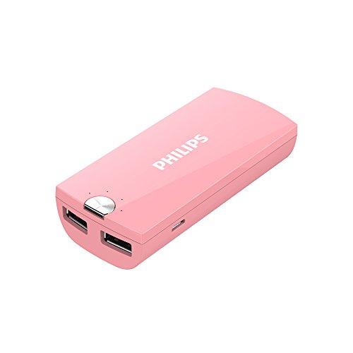 フィリップス 5200mAh 2ポート 大容量 モバイルバッテリー コンパクトタイプ DLP2053 (ピンク)