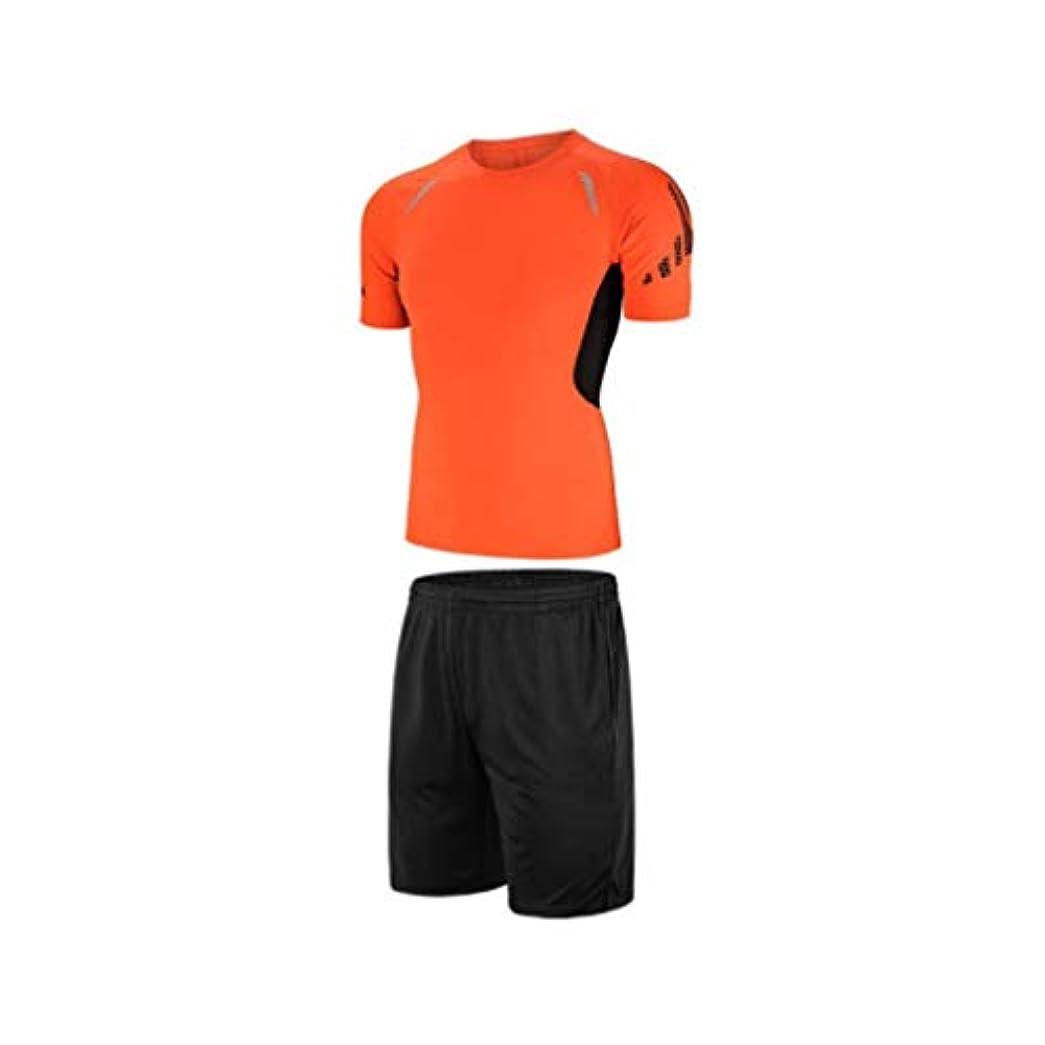 団結めったに作者男性の夏のフィットネススーツスポーツスキニーフィットネス服速乾性ランニング半袖ショーツツーピースセット (Color : 1, Size : L)