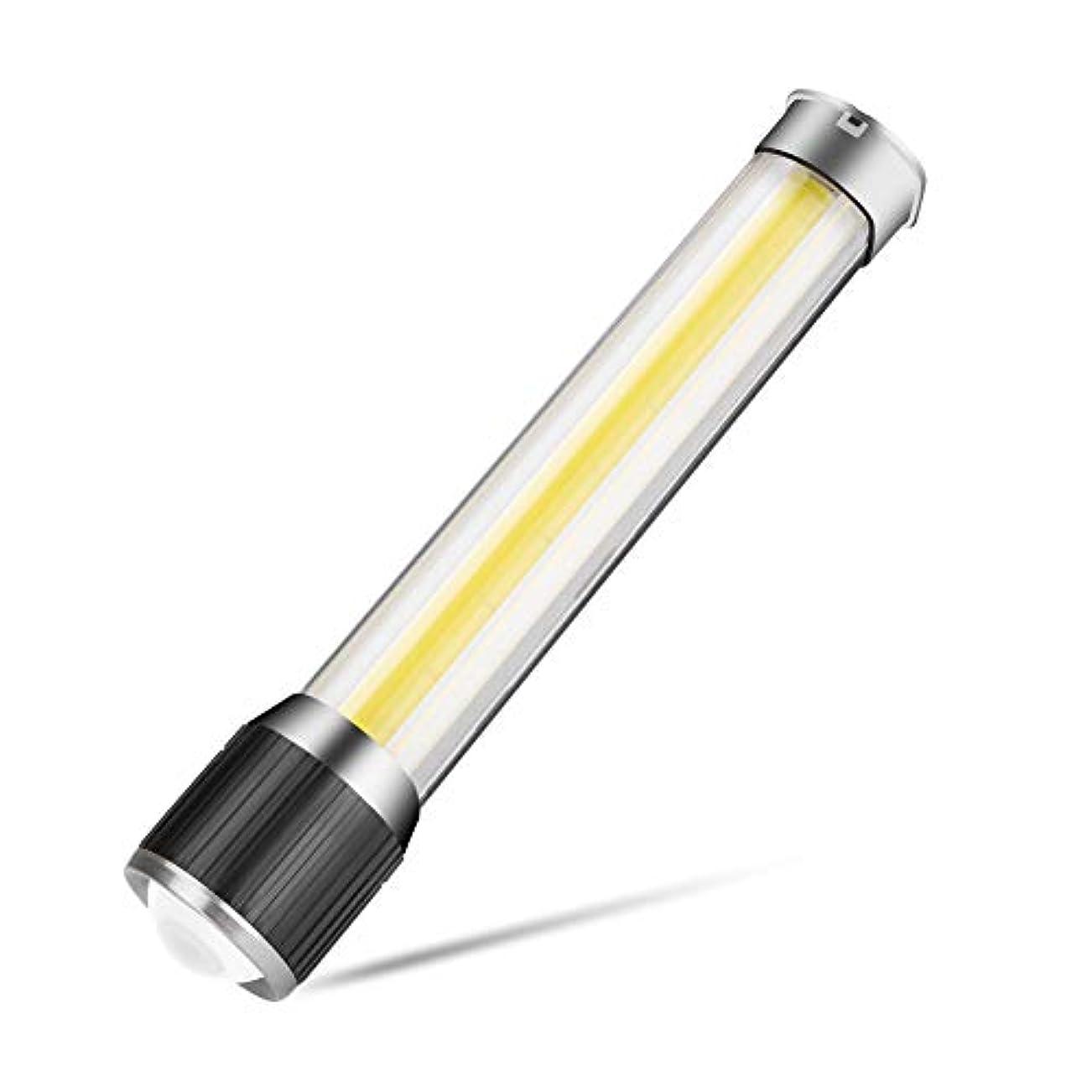 打撃あたたかい酸っぱいCOB LED+T6 懐中電灯/ハンディライト/フラッシュライト 二合一 7点灯モード TangQI 操作やすい USB充電式 明るい 内蔵電池対応 調節可能な焦点距離 多用途 防水 停電 地震 キャンプ 読書 ハイキング