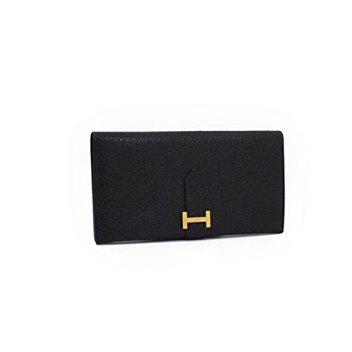 (エルメス) HERMES ベアンスフレ(2つ折り長財布) エミュー ブラック×ゴールド金具