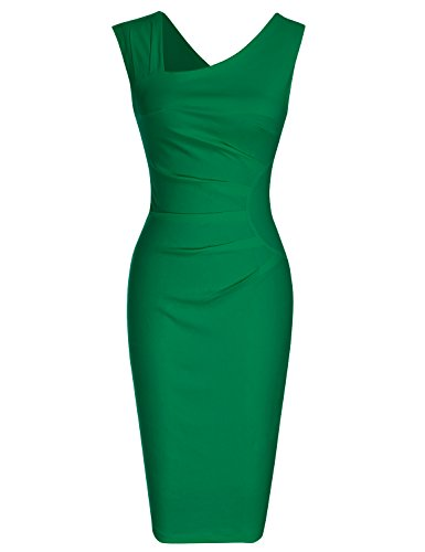MUXXN Women's Retro 1950s Style Sleeveless Slim Business Pencil Dress (S, Green)