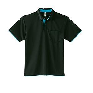 [グリマー] 半袖 4.4オンス ドライ レイヤード ボタンダウン ポロシャツ [ポケット付] 00315-AYB ブラック×ターコイズ 4L (日本サイズ4L相当)