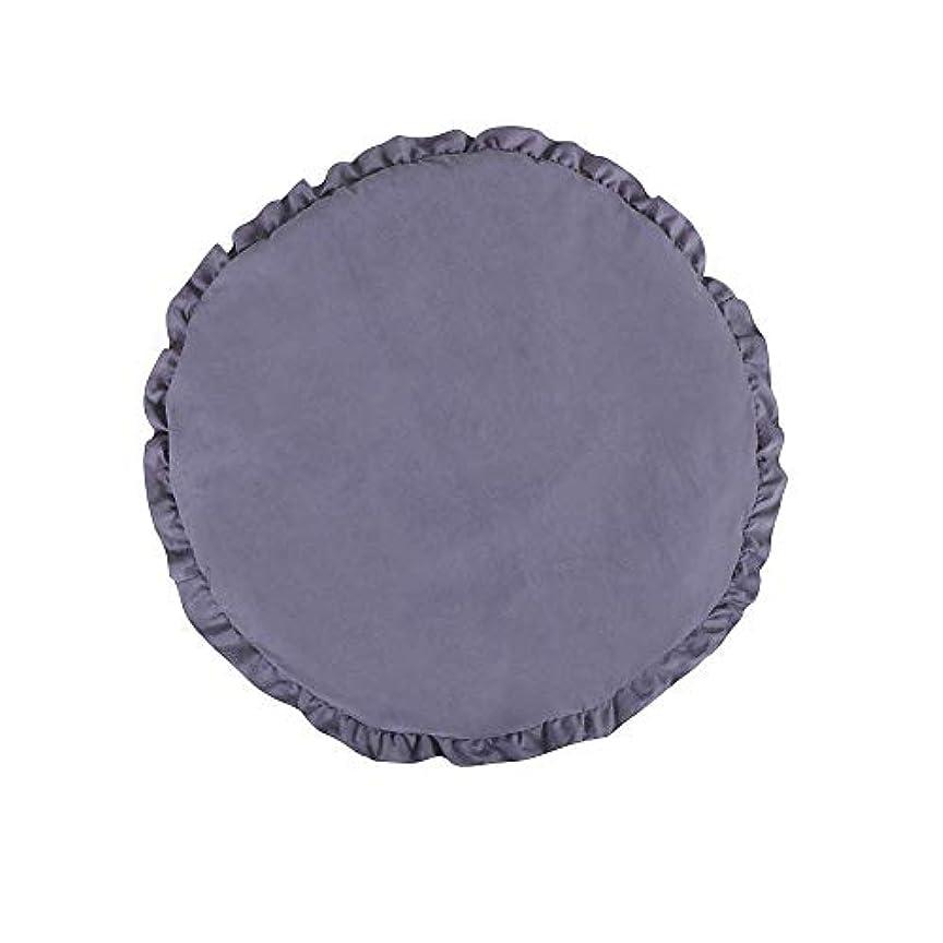 ピン臨検アスペクト?クロールマットラウンドレースのベビーマットプレイは、ホームデコレーション、直径95センチメートル用ソフト暖かい厚手のパッド入りのかわいい花エッジ、DARKBLUEスリーピングクロール用 zhaoyun (Color : Gray)