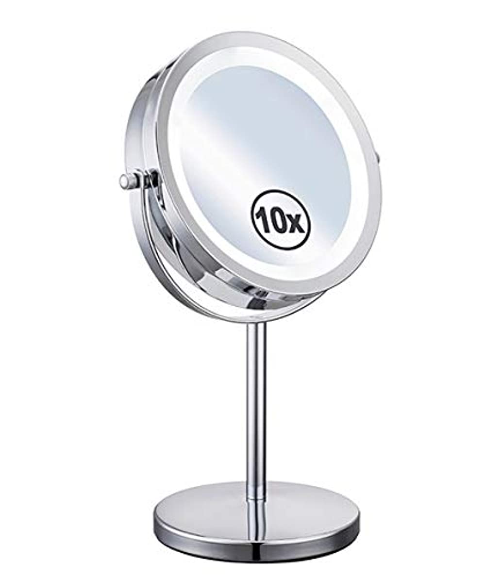 LED照明付き化粧鏡補助ランプデスクトップ両面360°スイベル1倍/ 10倍拡大鏡個人用とミラー