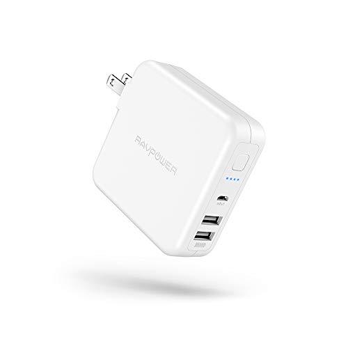 RAVPower モバイルバッテリー 搭載 USB 充電器 6700mAh 急速充電 【USB 2ポート 最大5V/3A 軽量 折畳式プラグ 菱&丸PSE認証済】 iPhone iPad Android等対応 RP-PB125 (ホワイト)