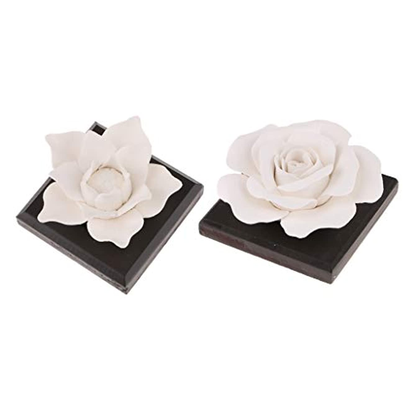 PETSOLA セラミック 花 エッセンシャルオイル 香水 香り ディフューザー 空気清浄機 装飾 2個