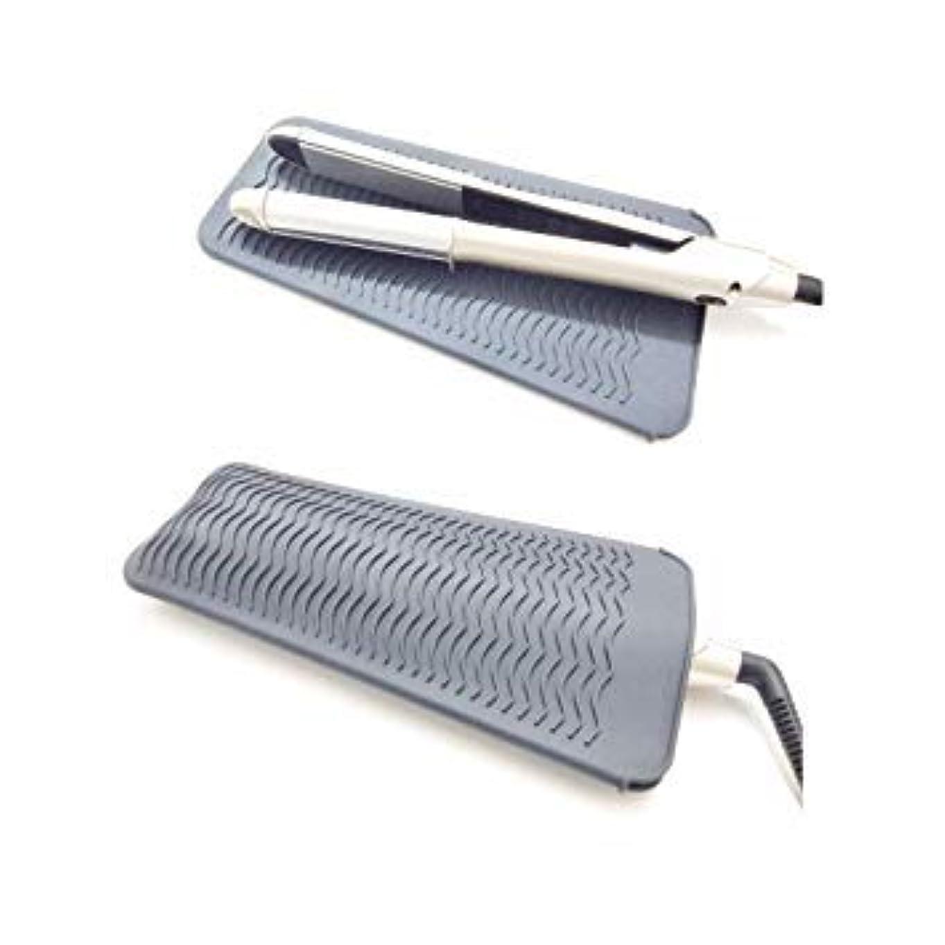 電池なかなか突き出すヘアアイロン耐熱ポーチ 滑り止めマット 2way 260℃の高温も耐熱しやけど防止 旅行出張など携帯に便利 グレー