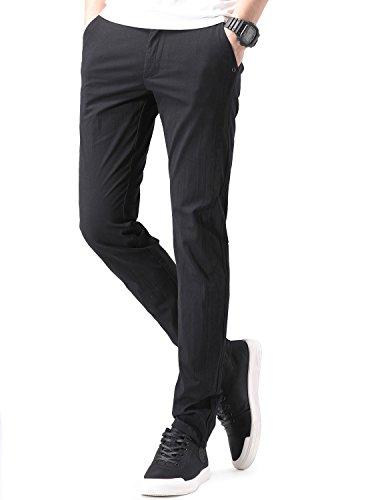 NEWHEY チノパン メンズ ストレッチ スキニーパンツ 大きいサイズ 小さいサイズ 薄手 ファッション スリムフィット 夏物 美脚 細身 ロングパンツ 黒 灰色2色
