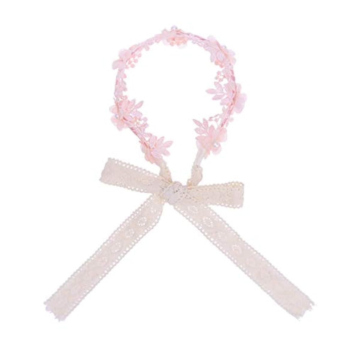 褐色中傷ブリードLurrose 女の子ヘアフープアクセサリーヘアバンドリボン帽子小道具デコレーション(ピンク)