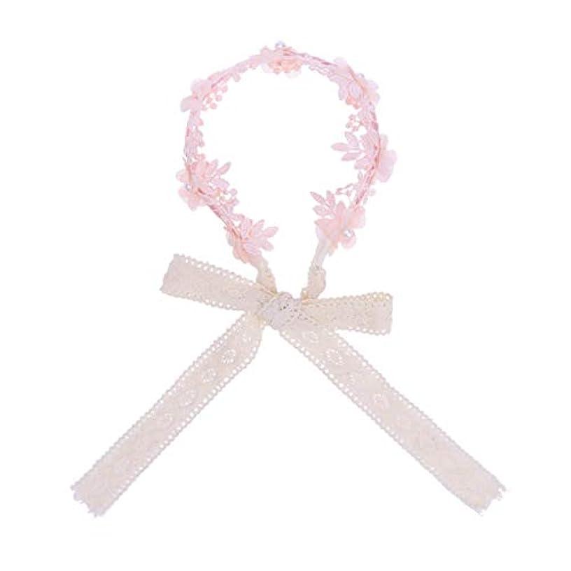 思いやりのある差別する矢Lurrose 女の子ヘアフープアクセサリーヘアバンドリボン帽子小道具デコレーション(ピンク)