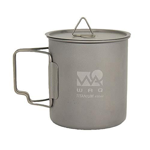 WAQ チタンマグカップ 450ml (蓋付き) キャンプ用...