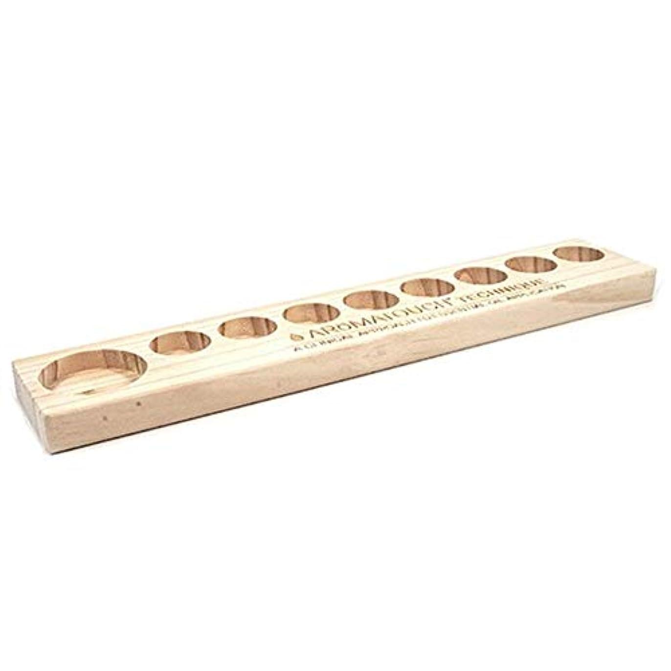 たっぷりコインピザエッセンシャルオイルの保管 9スロット木製エッセンシャルオイルストレージホルダーはパーフェクトエッセンシャルオイルケースボトル9つの油を保持します (色 : Natural, サイズ : 34.8X5.8X1.9CM)