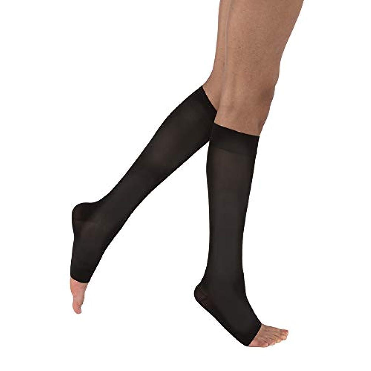 解体する同性愛者インシュレータWomen's Opaque 15-20 mmHg Open Toe Knee High Support Stocking Size: Large, Color: Classic Black by Jobst