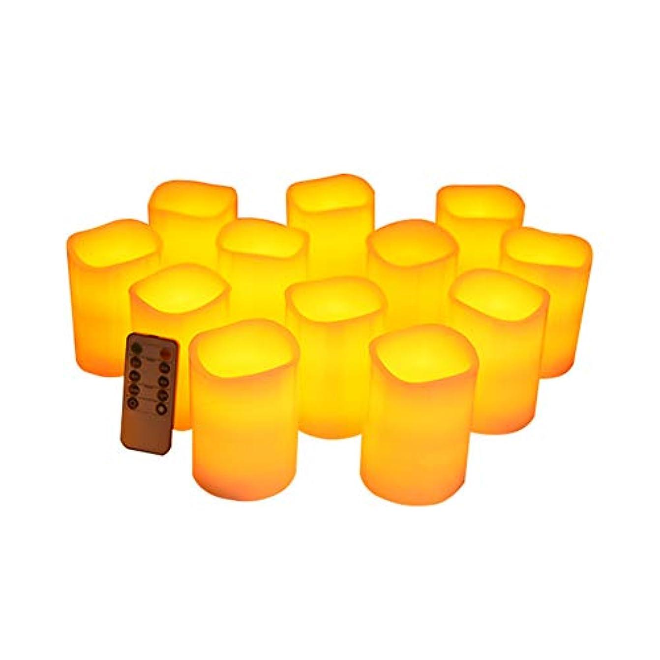 くるくる毒性指導するフレームレスキャンドルフリッカーLED柱リアルキャンドルリモコン付きサイクリングタイマー電気キャンドル12個セット