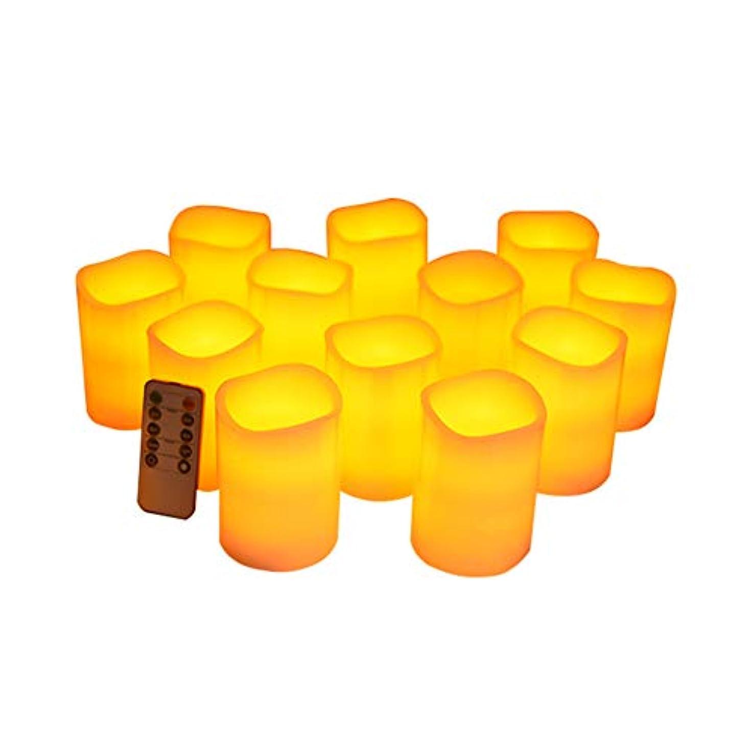 雑品抑制するおびえたフレームレスキャンドルフリッカーLED柱リアルキャンドルリモコン付きサイクリングタイマー電気キャンドル12個セット