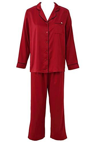 (チュチュアンナ) tutuanna サテン無地衿付き前開き長袖パジャマM-L 赤