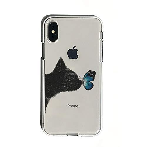 ROA iPhone X Max 6.5インチ用 ソフトクリアケース ネコと蝶々