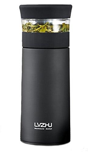 魔法瓶 車対応 350ml アウトドア 真空断熱 直飲み ステンレス ティーコップ付き 水筒 保温 茶こし付き 家庭 ブラック 大容量 マグボトル