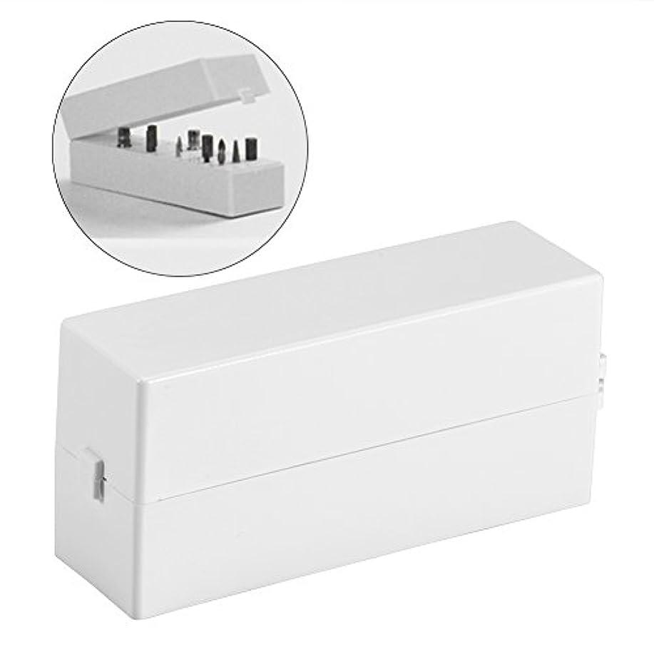 インペリアル有効化れるネイルドリルビットボックス 30穴 ネイルアートドリル 研削ヘッド ビットディスプレイ 収納ボックス ラックマニキュアツール
