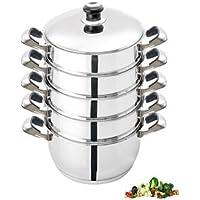Dumpling Steamer Stainless Steel 6pc Oriental Uzbek Mantovarka ?青??青??青???青??青??青???青??青? ?青??青??青??? (30cm) by Wetlif