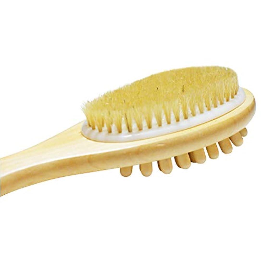 インタビュー価値ベアリングTOPBATHY 長いハンドルが付いている木の二重味方された浴室のシャワーの剛毛のブラシのマッサージボディブラシ