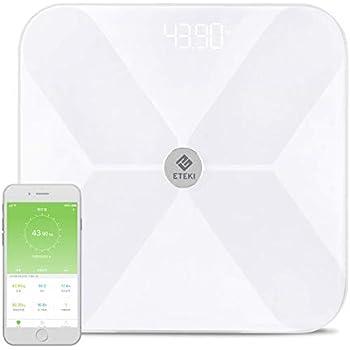 体重計 体組成計 Eteki 体脂肪計 Bluetooth対応 スマホ連動 BMI/体脂肪率/皮下脂肪/内臓脂肪/筋肉量/骨量/体水分率/基礎代謝量など測定可能 iOS/Androidアプリで健康管理 デジタル ヘルスケア同期 スマートスケール 乗るだけで電源ON (日本語対応APP&取扱説明書) 【2年品質保証】